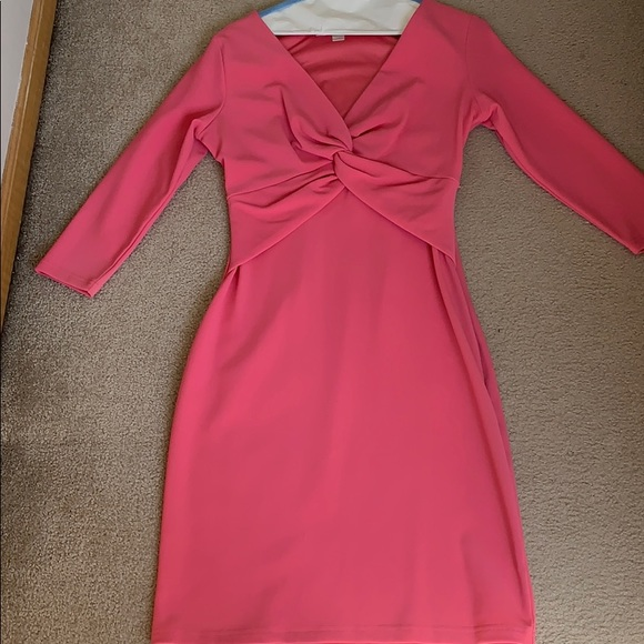 Boston Proper Dresses & Skirts - Pink fitted dress with front knot detail.